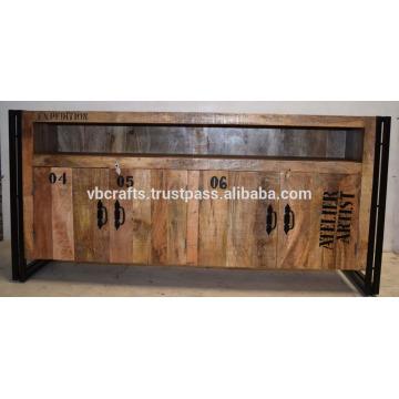 industrial wooden metal tv unit