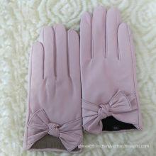 Guantes de cuero del arco de la manera de las mujeres rosadas claras de alto grado