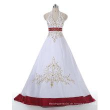 Rot / Weißes Goldstickerei-Satin-Hochzeits-Kleid