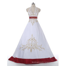 Red/White Gold Embroidery Satin Wedding Dress