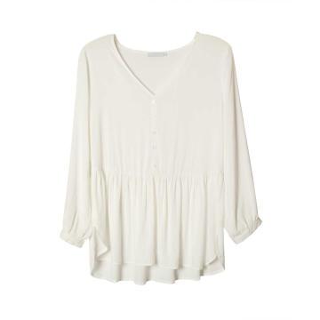 Женская тканая блузка с длинным рукавом