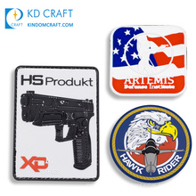 High quality custom heat transfer silicon silicone patch badge military army iron on 3d pvc soft rubber patch for clothing