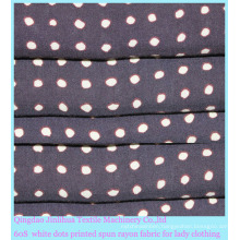 60s Printed White Dots Rayon Fabric for Women Wear