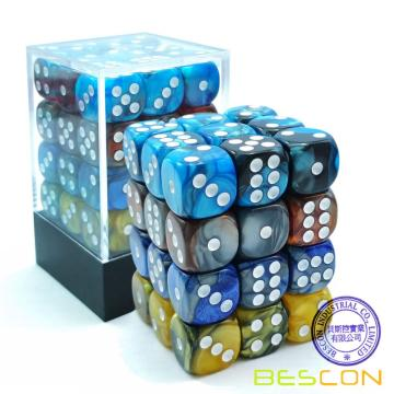 Bescon 12mm D6 Dice 36 po Cube, couleurs assorties ROCK Gemini, matrice à six faces 12 mm (36) Bloc de dés