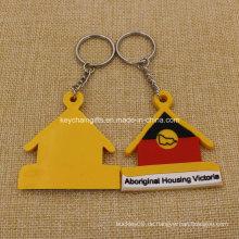 Förderung Custion 2D Haus geformtes PVC Keychain Gummi Keychain