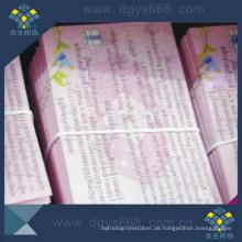 Farbdruck-kundenspezifischer Entwurf Anti-Coounterfeiting-Kupon von China