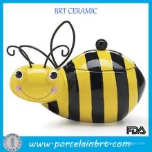 Wholesale Creative Honey Bumble Bee Ceramic Cookie Storage Jar