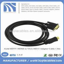 6 pieds HDMI Male to VGA 15 broches HD15 Câble mâle 1080p or 24K