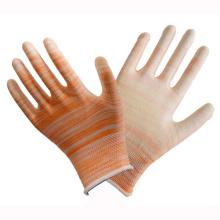 Doublure en polyester poignet en tricot orange gant recouvert de PU