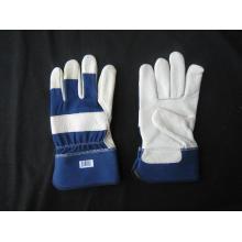 Cow Grain Leder voller Palm Blue Baumwolle zurück Handschuh