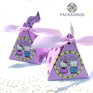 Small Pink Triangle Paper Candy Packaging Box