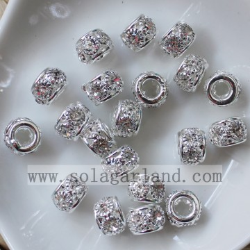 8MM Metall Spacer Disco Perlen Crystal Strass Lose Perlen Charms