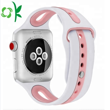 Color doble Hombres / Mujeres Sport Iwatch Correas de silicona