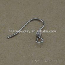BXG021 Oído de acero inoxidable alambre bobina Gancho de oreja de pescado, hallazgo pendiente para la joyería de fabricación