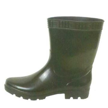 Short Black Pvc Rain Boots For Men