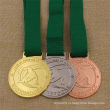 Изготовленный на заказ медаль металла спорта лыжи для награждения золото серебро Бронза