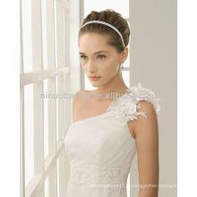 Потрясающие одно плечо ручной работы цветок аппликация Русалка свадебные платья 2014 элегантный длинные поезд кружева сад свадебные платья NB008