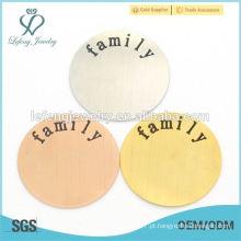 316l aço inoxidável rodada flutuante charme Locket Placas, placa gravada com a família