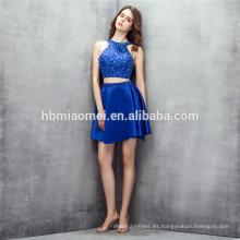 vestido corto de dama de honor sin mangas 2 piezas vestido de dama de honor convertible sin respaldo azul con abalorios