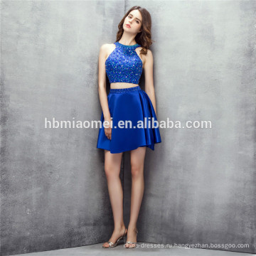 рукавов короткие дизайн невесты платье 2шт комплект спинки синий цвет мать невесты платья с тяжелыми бисероплетение
