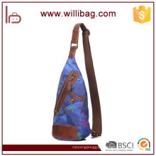 China Cheap college Shoulder Backpack Canvas Chest Sling Bags for Men