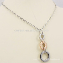 Simple Design Two Tone Metal 3 Ring Necklace Men