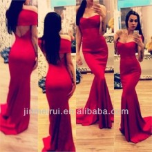 Formal Evening Gown Fishtail Satin Floor Length Off The Shoulder Red Prom Dress Backless Sexy Long Dress Formal DO10