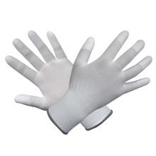 Gants en polyester / nylon avec revêtement en PU blanc
