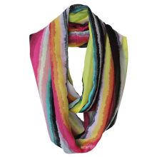 Lady Fashion Striped Printed Polyester Chiffon Infinity Summer Scarf (YKY1114)