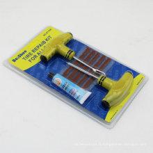 6in 1 voiture Bike Auto Tubeless Tire pneu perforation Plug Repair Tool Kit avec poignée en plastique