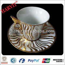 Ceramic Moroccan Gold Encrusted Striped Plating Tea Cups Saucers China Wholesale