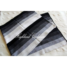 Écharpe en cachemire avec rayures verticales Intarsia