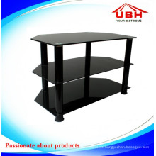 Breve estante de cristal y soporte de aluminio