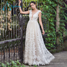 A-Line Tulle Satin Girls Sexy Lace Open Back Wedding Dress