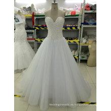 Nuevo Bead / Pearl / Rhinestone / vestidos de boda de cristal con tren de Tul