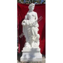 Esculpida escultura de pedra das mulheres bonitas da estátua do mármore de Carrara (SY-X1009A)