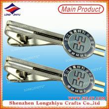 Brillante plata plateada epoxi círculo de fundición marca barras paralelas Tie Clip