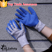 SRSAFETY crinkle latex coated hppe liner cut resistant glove