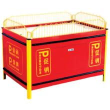 Vente chaude réception/supermarché pas cher mobile empilement promotion cage/supermarché métal promotion table pliante