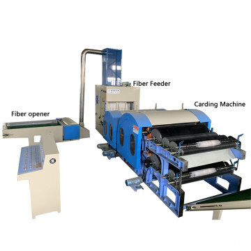 recycle polyester stable fiber opening machine carding machine wadding production line