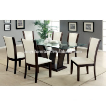 Glass top dining table and wood chair XYN1474