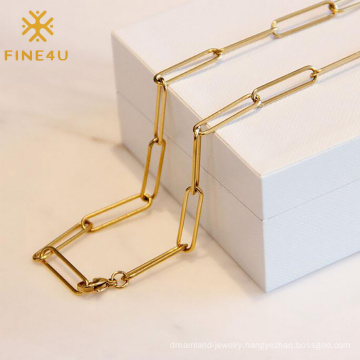 Hip hop women retro hollow thick wide link 18k gold plated paper clip chain