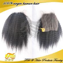 Mode Indisches reines Haar verworrene gerade Spitze Schließung