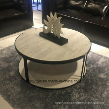 Round Shape White Color Coffee Table with Marble Top