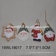 2016 christmas hanging ornament ceramic santa ceramic snowman
