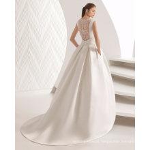 Boat Neck Lace Back Pleat Belt Satin Bridal Wedding Dress