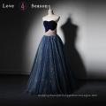 LSQ021 Real producer gambar sex popular high heel lady shoe floor length one piece party velvet prom dress