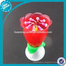Artesanía de la fábrica de rotación de flores de color rosa vela de la música