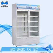 Réfrigérateur à porte en verre à refroidissement par ventilateur pour boissons