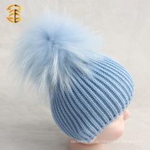 Sombrero unisex lindo del bebé del invierno de la bola de la piel del color l